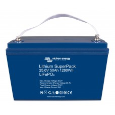 Victron Lithium Superpack LiFePO4 25.4V 50Ah Battery with integrated BMS and safety switch