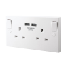 Twin Wall Socket with Dual USB charging points 230VAC
