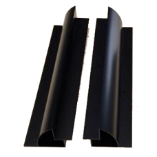 Aluminium Long Black Mounting Brackets 550mm Pair (set of 2) with end caps included - Great For Vans or Boats.